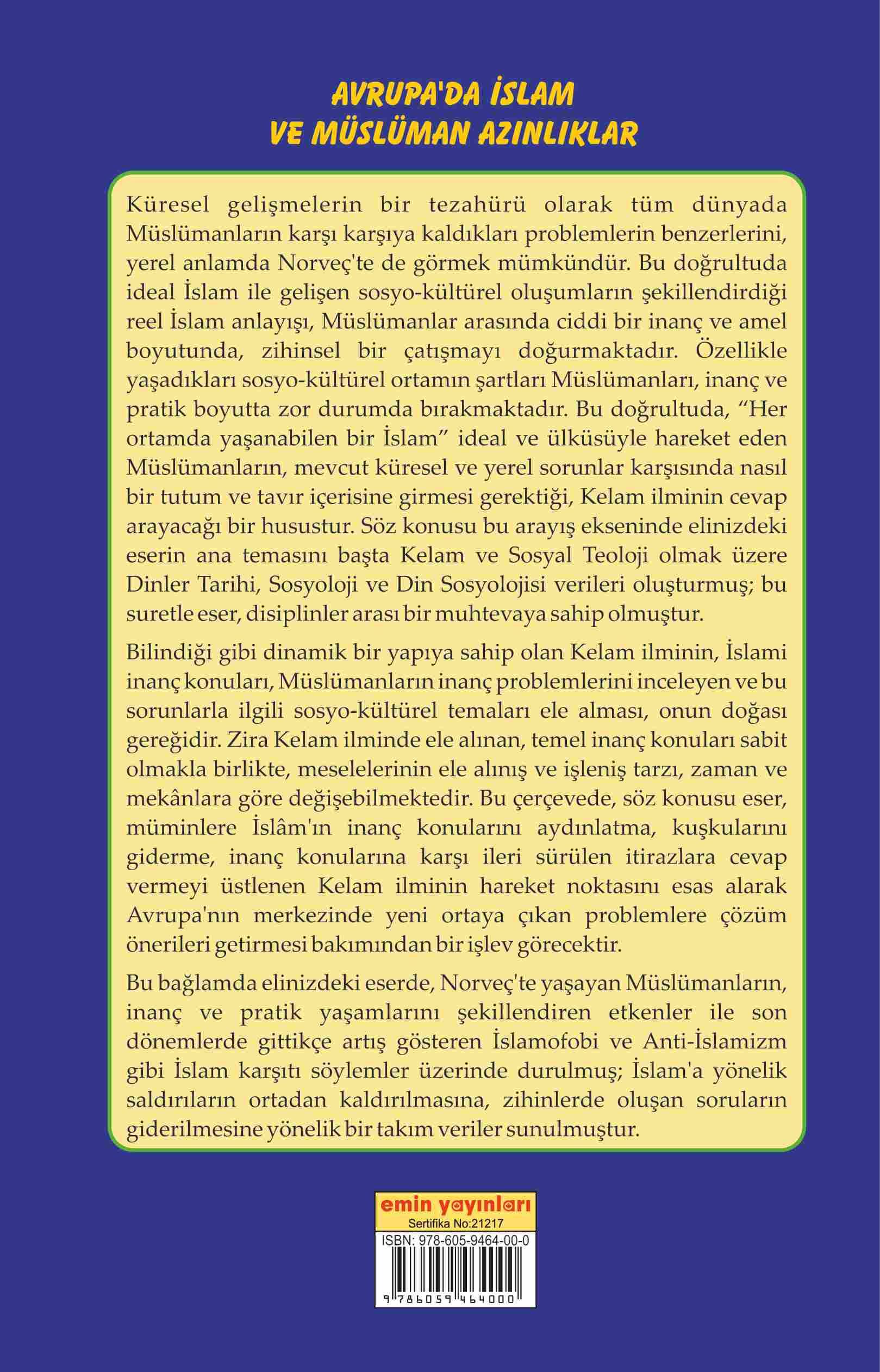 Avrupa'da İslam ve Müslüman Azınlıklar; Çokkültürlülük & İslamofobi & Dinlerarası Diyalog (Norveç Örneği)