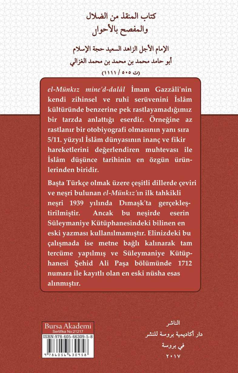 el-MÜNKIZ MİNE'D-DALÂL İMAM GAZZÂLÎ / HAKİKAT ARAYIŞI (TÜRKÇE=ARAPÇA)