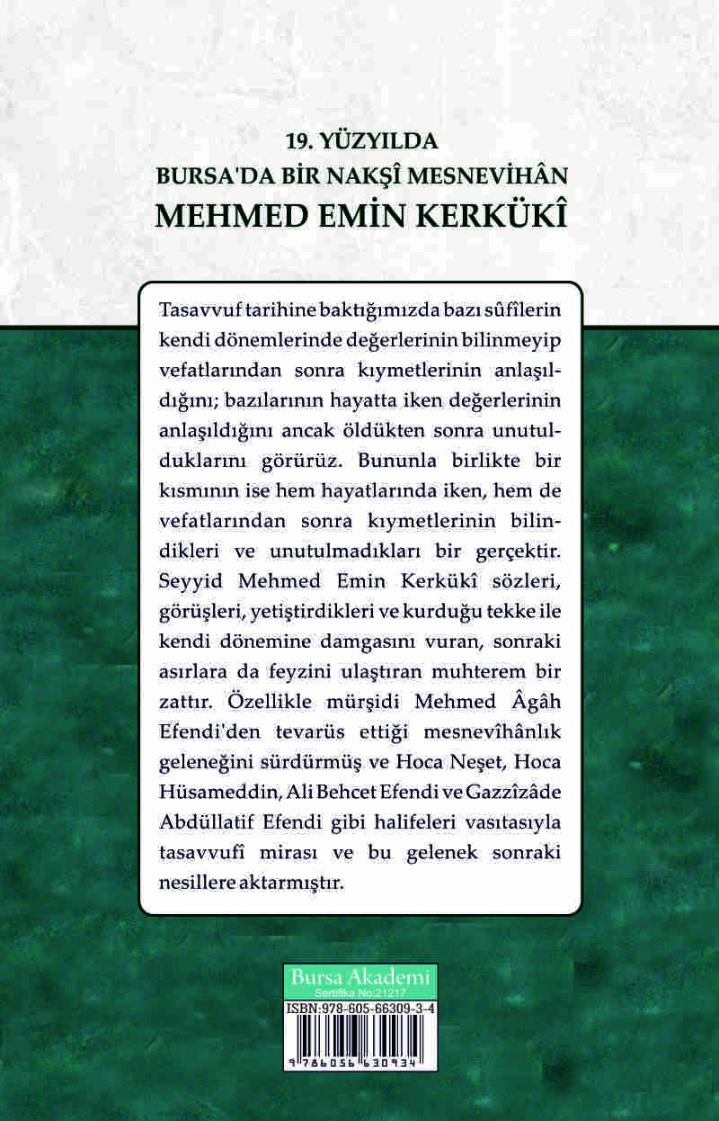 19. Yüzyılda Bursa'da Bir Nakşi Mesnevihan Mehmed Emin Kerküki